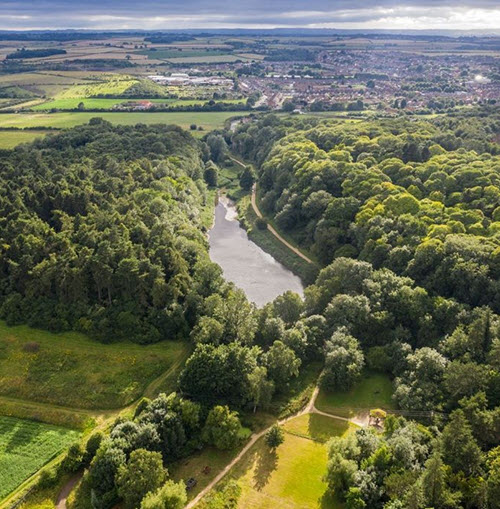 Creswell Crags Museum and Prehistoric Gorge aerial view