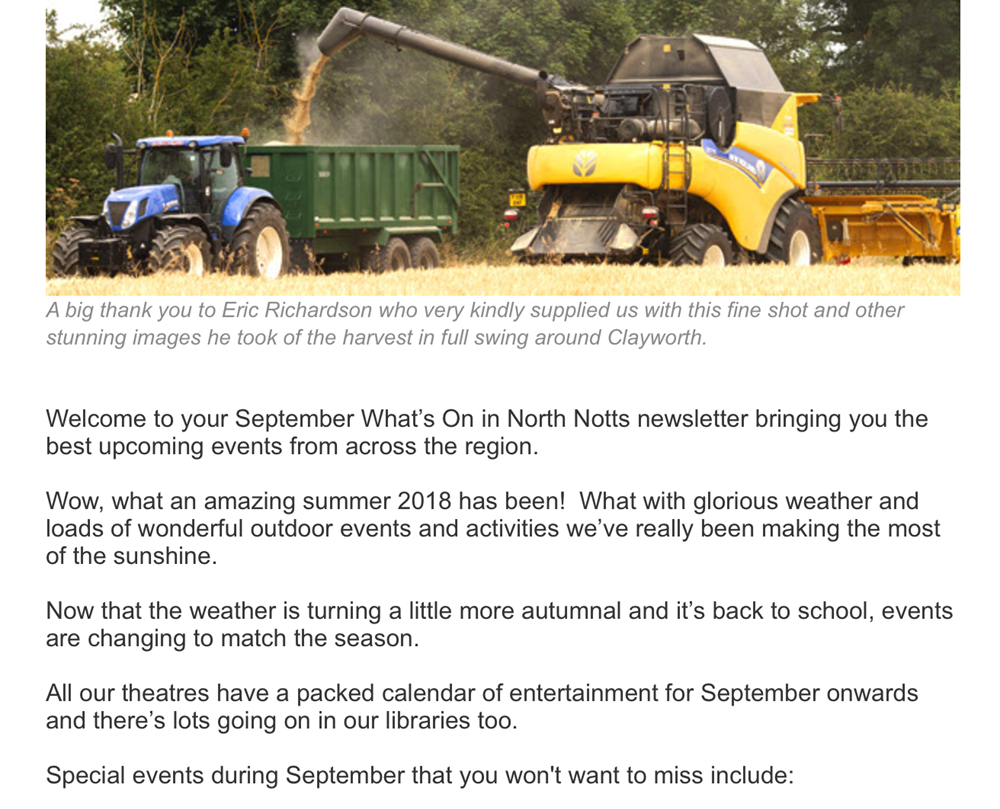 september 2018 whats on in north notts events newsletter intro2